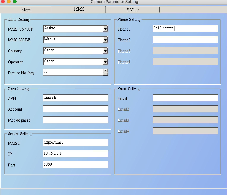 Configuration MMS HC-300M avec réseau SFR